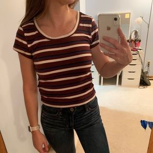 Abercrombie & Fitch Tops - Maroon striped scoop neck tee - NWT